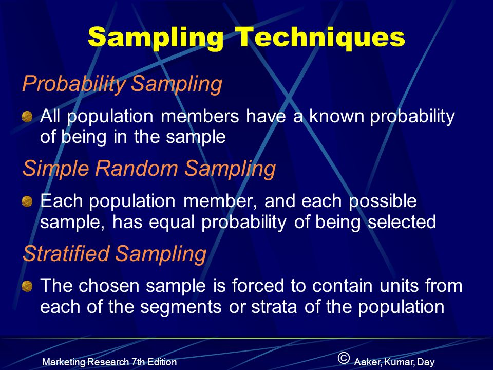 © Marketing Research 7th EditionAaker, Kumar, Day Sampling Techniques Probability Sampling All population members have a known probability of being in the sample Simple Random Sampling Each population member, and each possible sample, has equal probability of being selected Stratified Sampling The chosen sample is forced to contain units from each of the segments or strata of the population