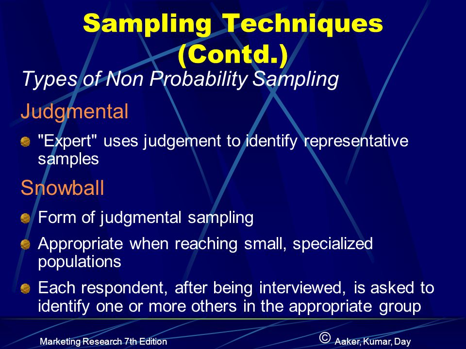 © Marketing Research 7th EditionAaker, Kumar, Day Sampling Techniques (Contd.) Types of Non Probability Sampling Judgmental Expert uses judgement to identify representative samples Snowball Form of judgmental sampling Appropriate when reaching small, specialized populations Each respondent, after being interviewed, is asked to identify one or more others in the appropriate group