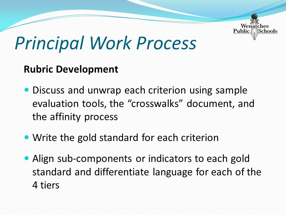 Principal Work Process Rubric Development Discuss and unwrap each criterion using sample evaluation tools, the crosswalks document, and the affinity process Write the gold standard for each criterion Align sub-components or indicators to each gold standard and differentiate language for each of the 4 tiers