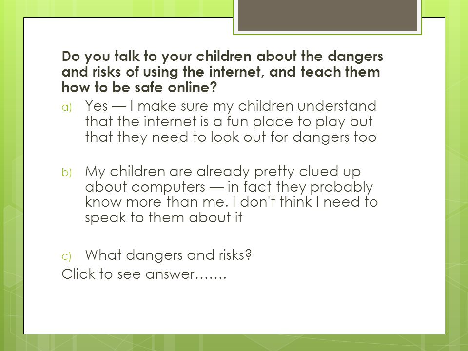 E-Safety Quiz Keeping safe online! A guide for parents