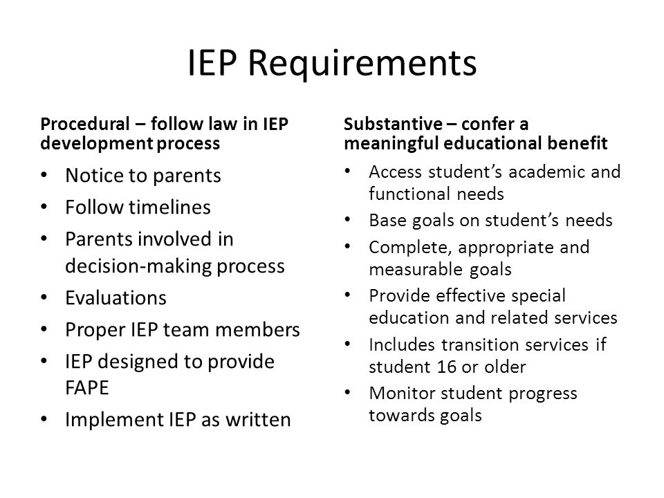 IEP Requirements Procedural – follow law in IEP development process Notice to parents Follow timelines Parents involved in decision-making process Evaluations Proper IEP team members IEP designed to provide FAPE Implement IEP as written Substantive – confer a meaningful educational benefit Access student's academic and functional needs Base goals on student's needs Complete, appropriate and measurable goals Provide effective special education and related services Includes transition services if student 16 or older Monitor student progress towards goals