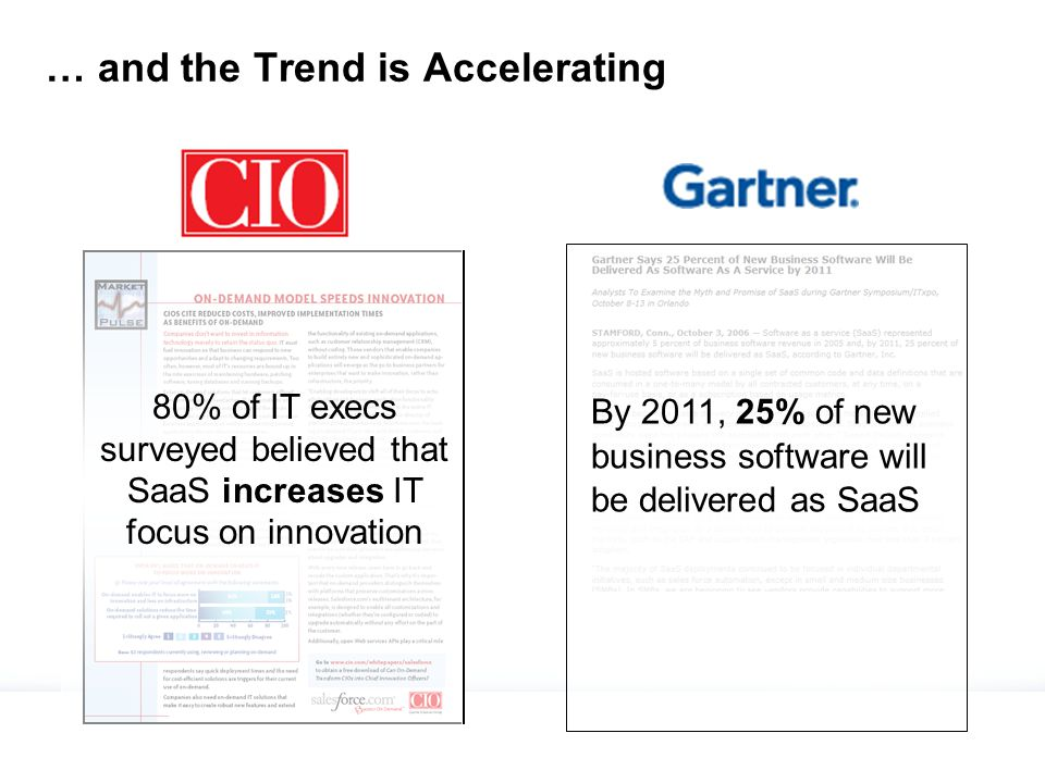 … and the Trend is Accelerating 80% of IT execs surveyed believed that SaaS increases IT focus on innovation By 2011, 25% of new business software will be delivered as SaaS