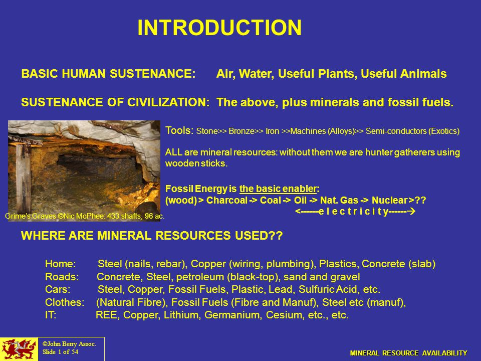 MINERAL RESOURCE AVAILABILITY and the FUTURE OF CIVILIZATION John L ...