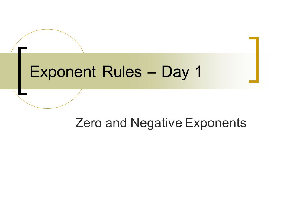 Exponent Rules – Day 1 Zero and Negative Exponents