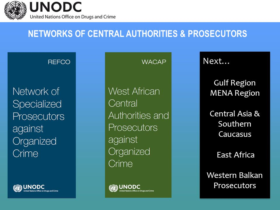 NETWORKS OF CENTRAL AUTHORITIES & PROSECUTORS Next… Gulf Region MENA Region Central Asia & Southern Caucasus East Africa Western Balkan Prosecutors