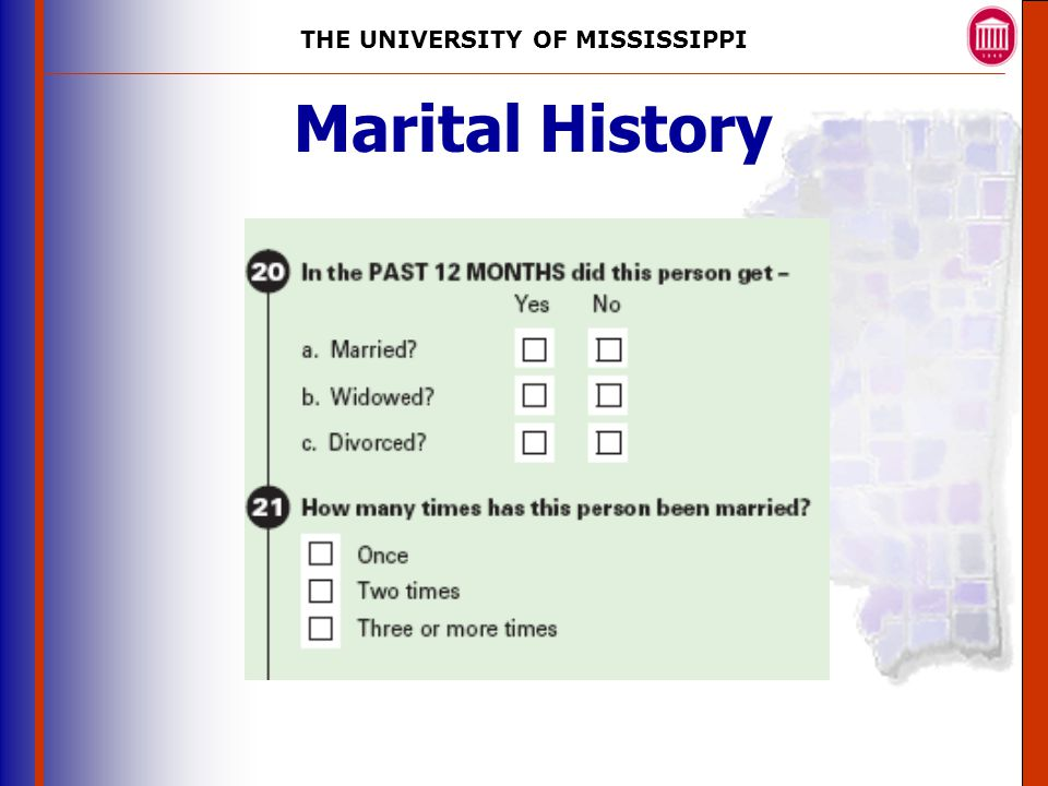 THE UNIVERSITY OF MISSISSIPPI The University of Mississippi Institute for Advanced Education in Geospatial Science Marital History