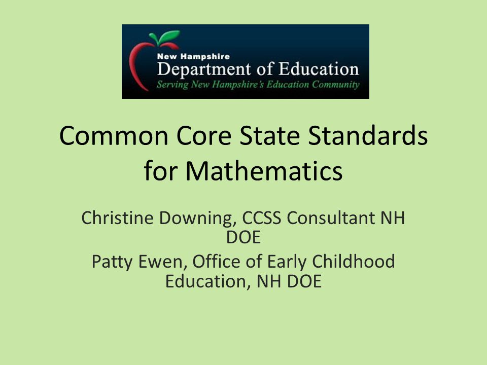 Common Core State Standards For Mathematics Christine Downing Ccss