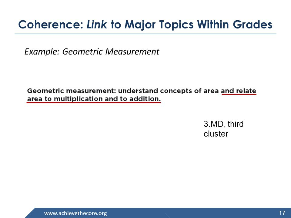 17 Example: Geometric Measurement 3.MD, third cluster Coherence: Link to Major Topics Within Grades