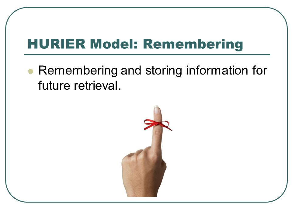 HURIER Model: Remembering Remembering and storing information for future retrieval.