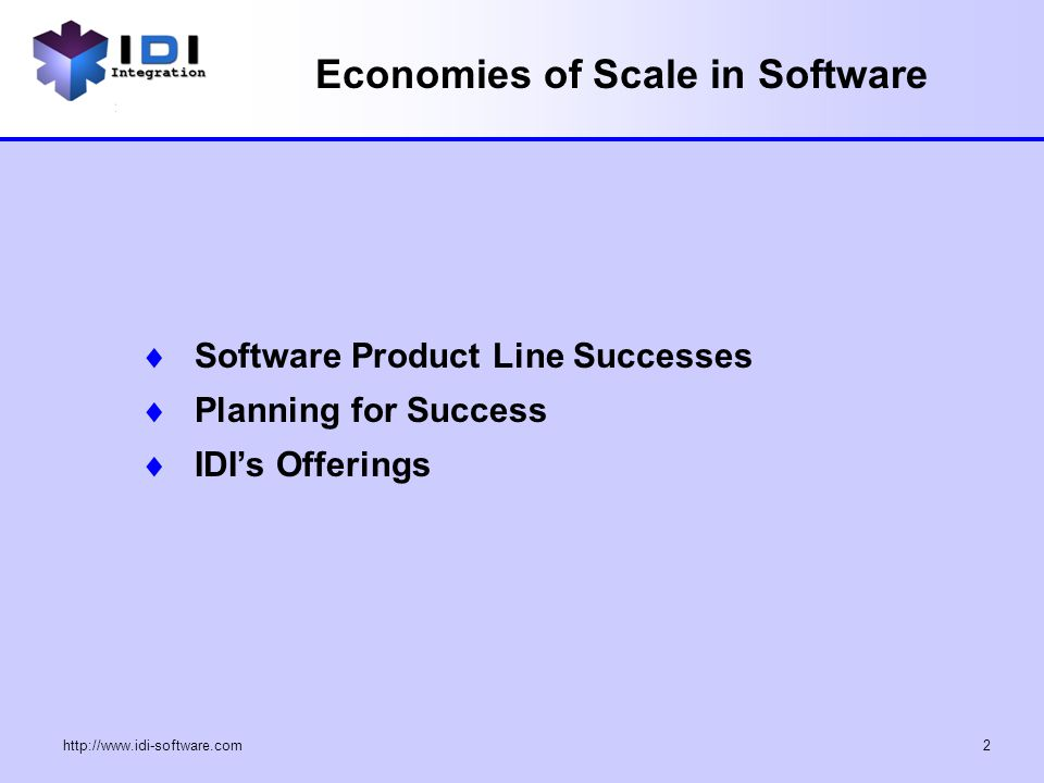 """Economies of Scale in Software Economies of Scale: """"The"""