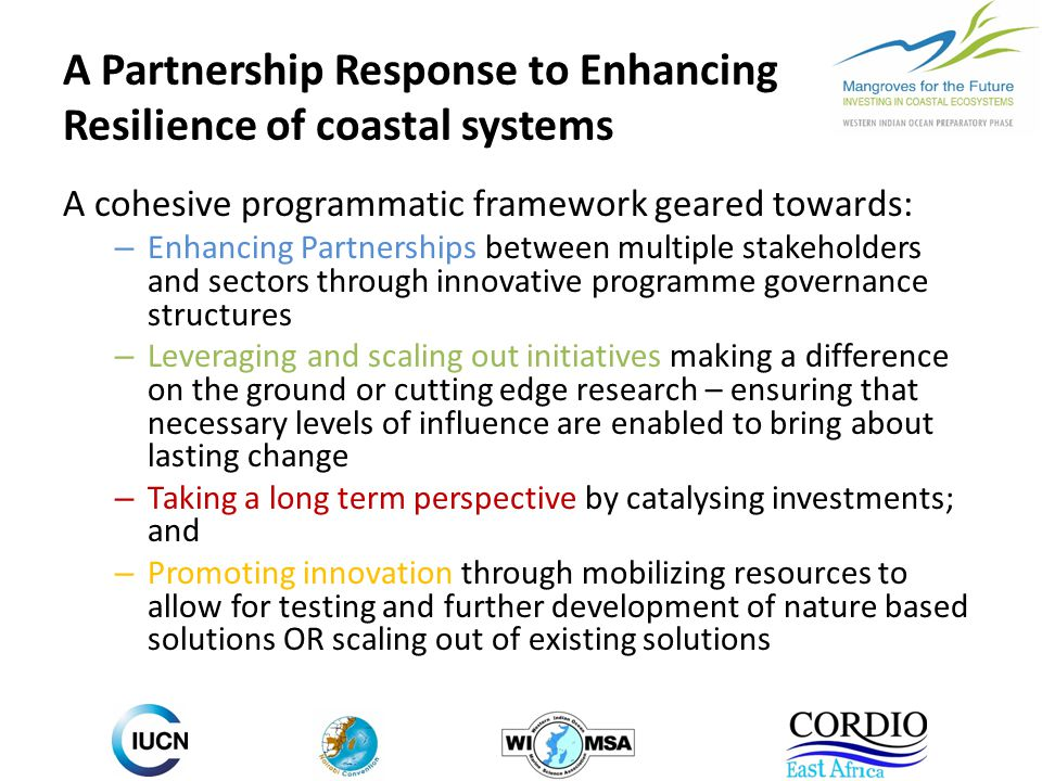 A Partnership Response to Enhancing Resilience of coastal systems A cohesive programmatic framework geared towards: – Enhancing Partnerships between multiple stakeholders and sectors through innovative programme governance structures – Leveraging and scaling out initiatives making a difference on the ground or cutting edge research – ensuring that necessary levels of influence are enabled to bring about lasting change – Taking a long term perspective by catalysing investments; and – Promoting innovation through mobilizing resources to allow for testing and further development of nature based solutions OR scaling out of existing solutions
