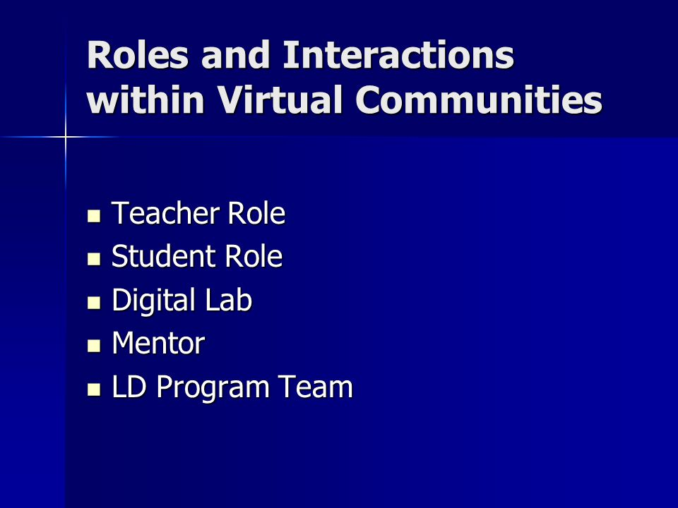 Roles and Interactions within Virtual Communities Teacher Role Teacher Role Student Role Student Role Digital Lab Digital Lab Mentor Mentor LD Program Team LD Program Team