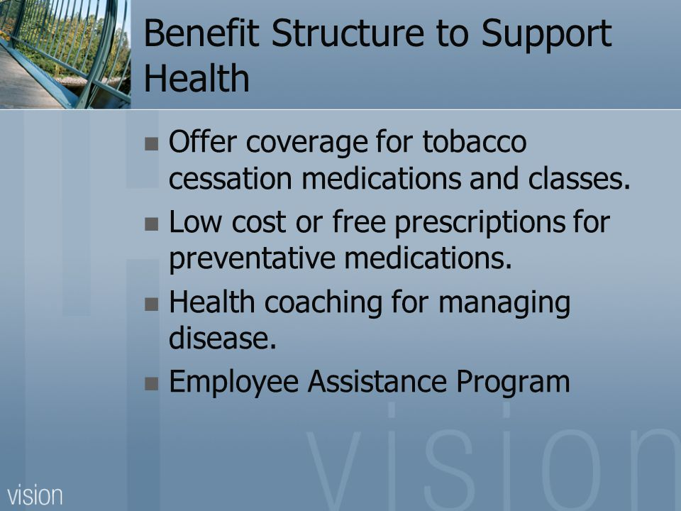 Benefit Structure to Support Health Offer coverage for tobacco cessation medications and classes.