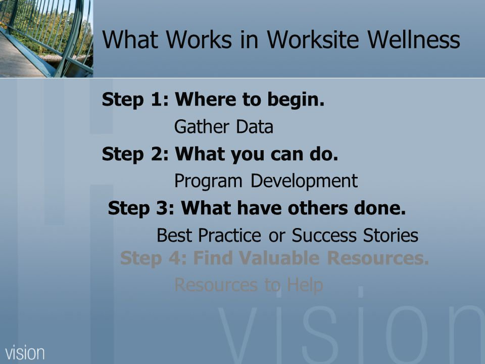 What Works in Worksite Wellness Step 1: Where to begin.