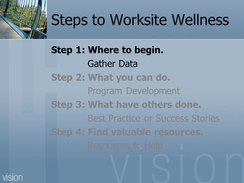 Steps to Worksite Wellness Step 1: Where to begin.
