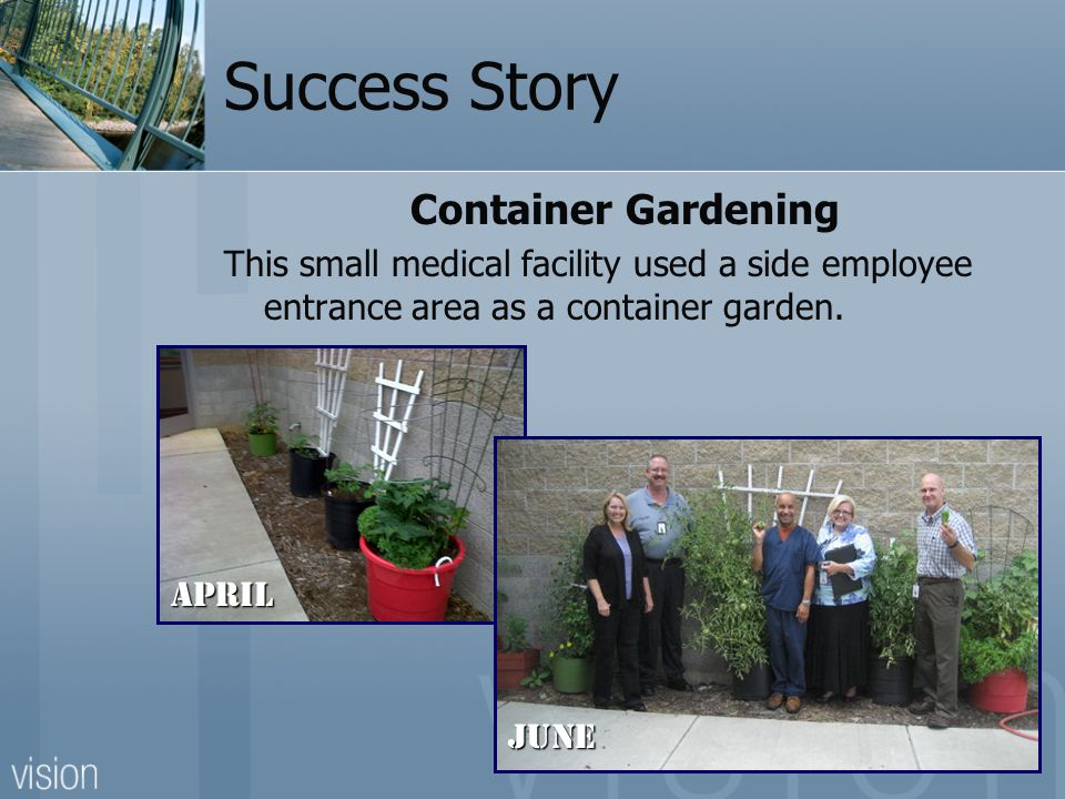 Success Story Container Gardening This small medical facility used a side employee entrance area as a container garden.