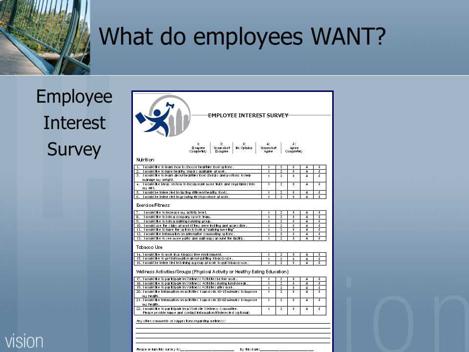 What do employees WANT Employee Interest Survey EMPLOYEE INTEREST SURVEY