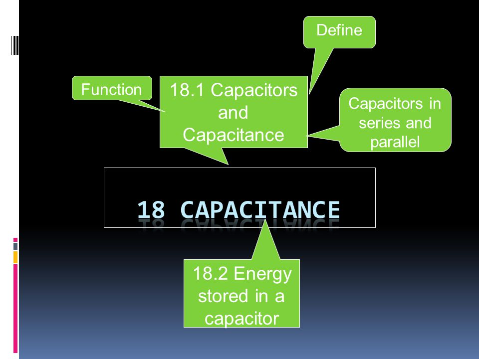 18 2 Energy stored in a capacitor 18 1 Capacitors and Capacitance
