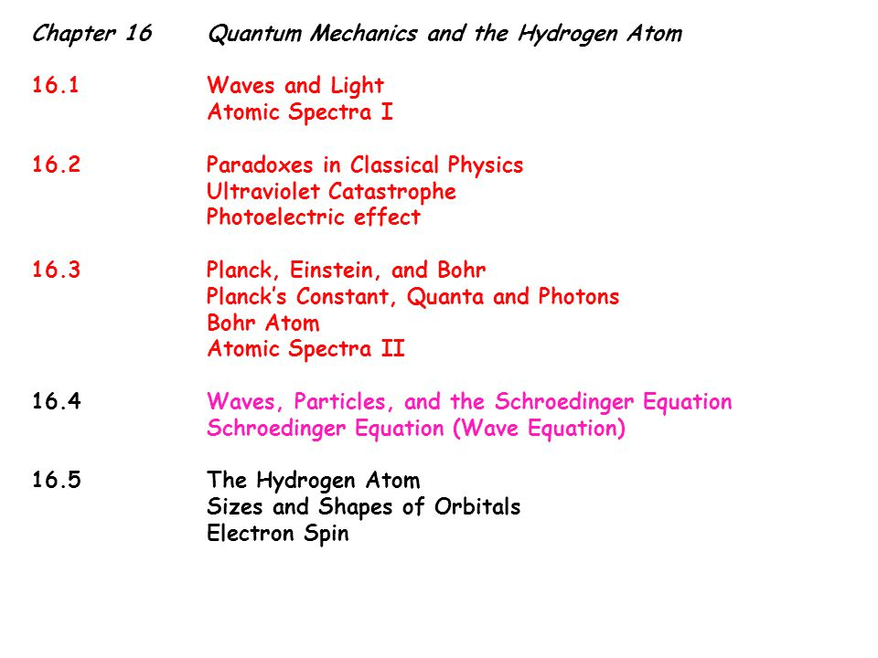 Chapter 16Quantum Mechanics and the Hydrogen Atom 16.1Waves and Light Atomic Spectra I 16.2Paradoxes in Classical Physics Ultraviolet Catastrophe Photoelectric effect 16.3Planck, Einstein, and Bohr Planck's Constant, Quanta and Photons Bohr Atom Atomic Spectra II 16.4Waves, Particles, and the Schroedinger Equation Schroedinger Equation (Wave Equation) 16.5The Hydrogen Atom Sizes and Shapes of Orbitals Electron Spin