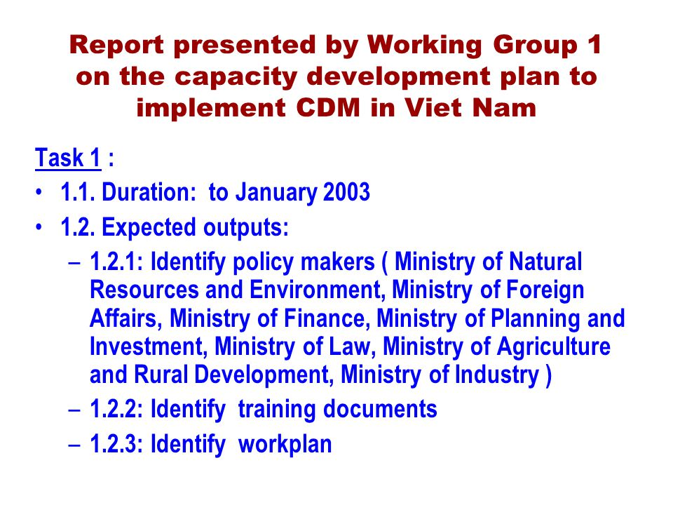 Report presented by Working Group 1 on the capacity development plan to implement CDM in Viet Nam Task 1 : 1.1.