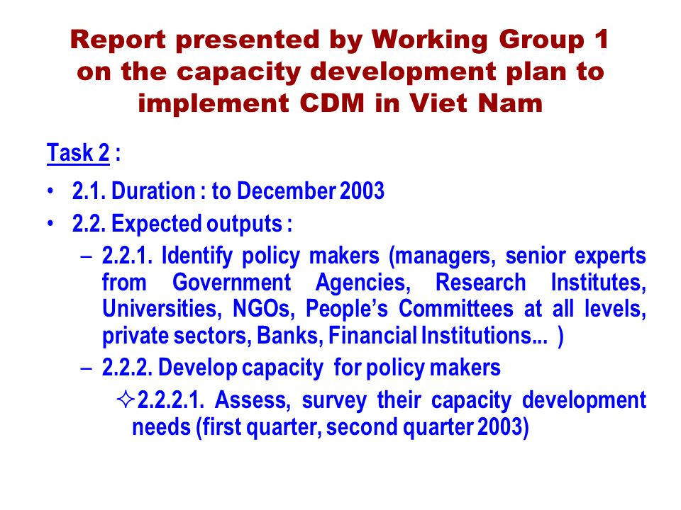 Report presented by Working Group 1 on the capacity development plan to implement CDM in Viet Nam Task 2 : 2.1.
