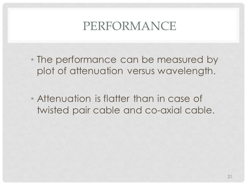 PERFORMANCE 21 The performance can be measured by plot of attenuation versus wavelength.