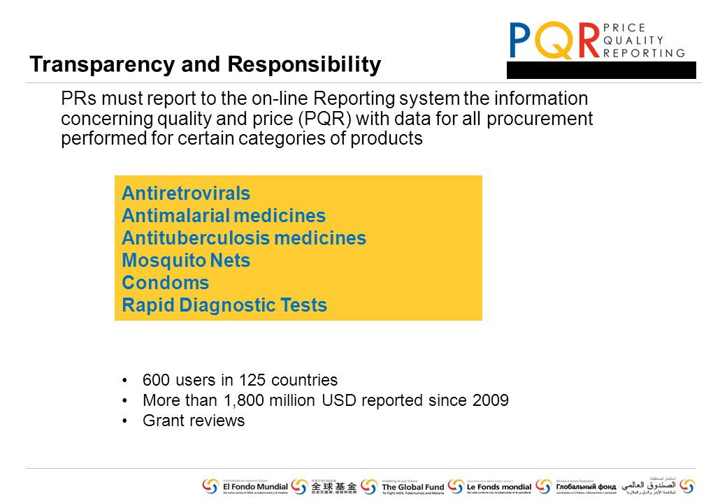 Transparency and Responsibility PRs must report to the on-line Reporting system the information concerning quality and price (PQR) with data for all procurement performed for certain categories of products Antiretrovirals Antimalarial medicines Antituberculosis medicines Mosquito Nets Condoms Rapid Diagnostic Tests 600 users in 125 countries More than 1,800 million USD reported since 2009 Grant reviews
