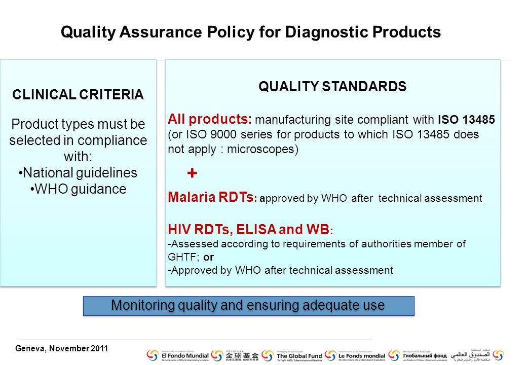 Geneva, November 2011 CLINICAL CRITERIA Product types must be selected in compliance with: National guidelines WHO guidance CLINICAL CRITERIA Product types must be selected in compliance with: National guidelines WHO guidance QUALITY STANDARDS All products: manufacturing site compliant with ISO (or ISO 9000 series for products to which ISO does not apply : microscopes) Malaria RDTs : approved by WHO after technical assessment HIV RDTs, ELISA and WB : -Assessed according to requirements of authorities member of GHTF; or -Approved by WHO after technical assessment QUALITY STANDARDS All products: manufacturing site compliant with ISO (or ISO 9000 series for products to which ISO does not apply : microscopes) Malaria RDTs : approved by WHO after technical assessment HIV RDTs, ELISA and WB : -Assessed according to requirements of authorities member of GHTF; or -Approved by WHO after technical assessment + Quality Assurance Policy for Diagnostic Products Monitoring quality and ensuring adequate use