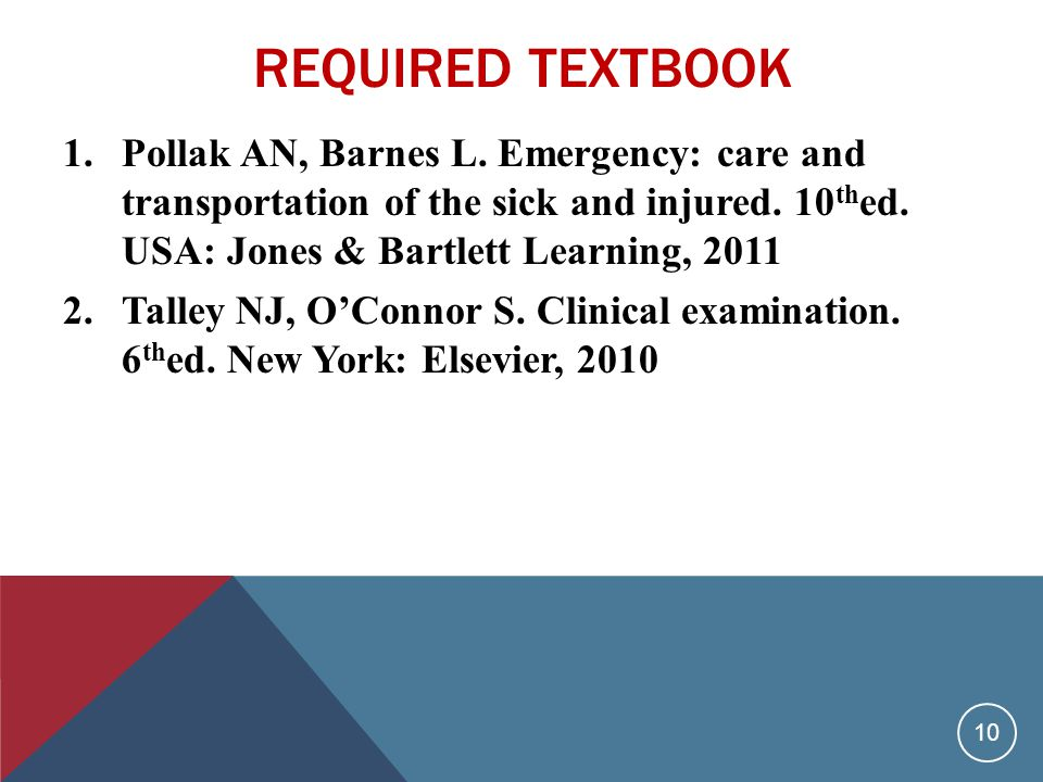 REQUIRED TEXTBOOK 1.Pollak AN, Barnes L.