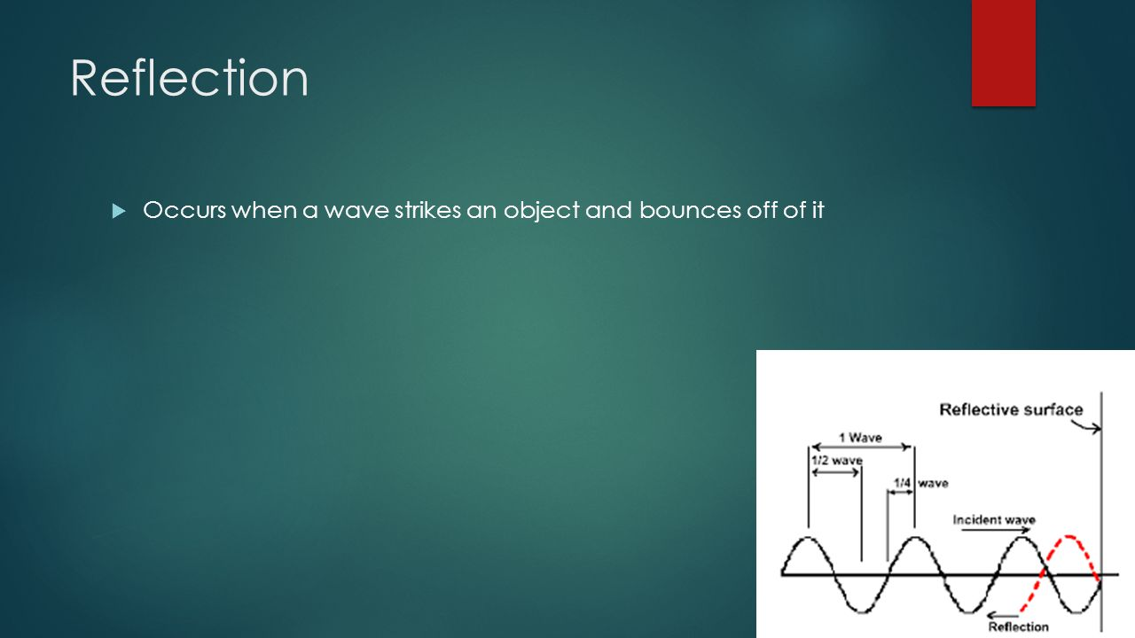 Reflection  Occurs when a wave strikes an object and bounces off of it