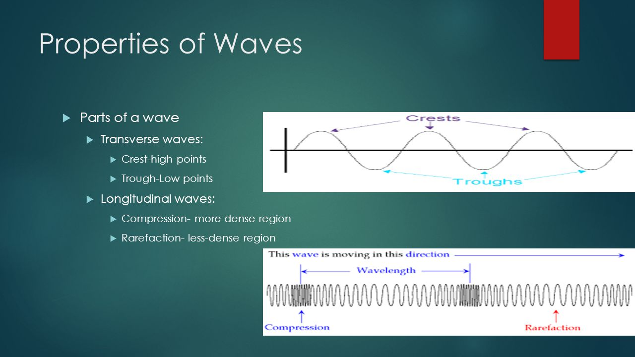 Properties of Waves  Parts of a wave  Transverse waves:  Crest-high points  Trough-Low points  Longitudinal waves:  Compression- more dense region  Rarefaction- less-dense region