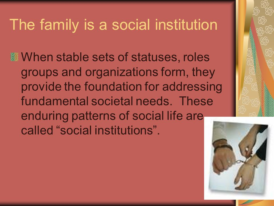 The family is a social institution When stable sets of statuses, roles groups and organizations form, they provide the foundation for addressing fundamental societal needs.