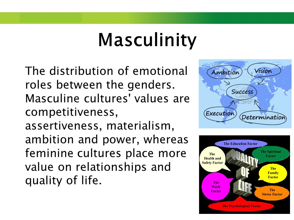 Step up to Saxion. Masculinity The distribution of emotional roles between the genders.