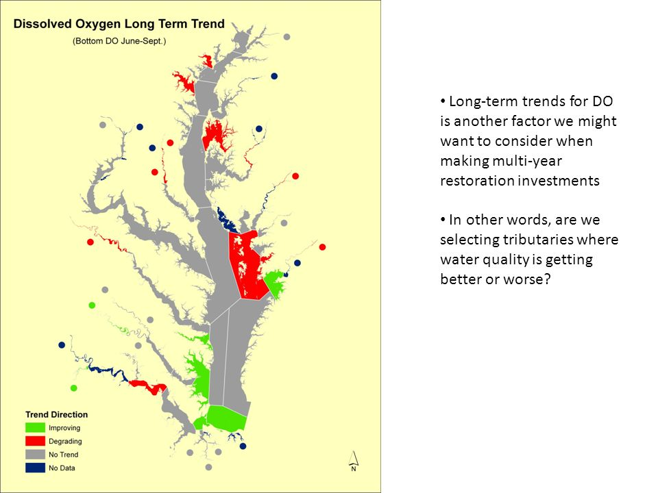 Long-term trends for DO is another factor we might want to consider when making multi-year restoration investments In other words, are we selecting tributaries where water quality is getting better or worse