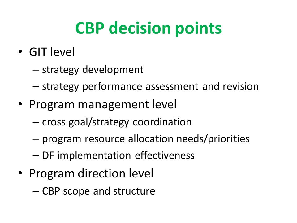 CBP decision points GIT level – strategy development – strategy performance assessment and revision Program management level – cross goal/strategy coordination – program resource allocation needs/priorities – DF implementation effectiveness Program direction level – CBP scope and structure