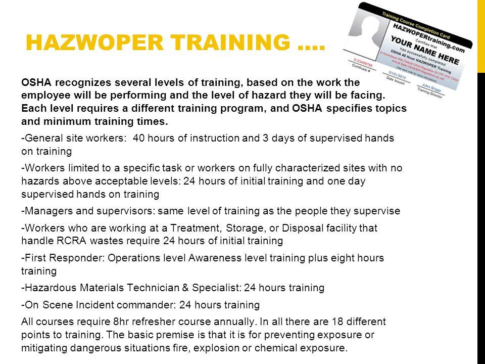 Hazwoper Hazardous Waste Operations And Emergency Response Timisha