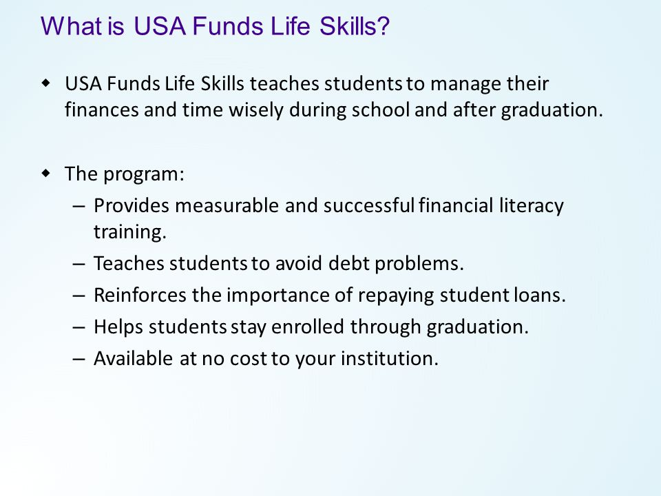 What is USA Funds Life Skills.