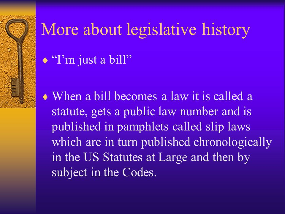 Legislative History  A Legislative History consists of:  Predecessor statutes to the one at issue; and  Documents that were produced during the statute's legislative history such as committee reports, speeches, witness testimony and studies introduced into the record.