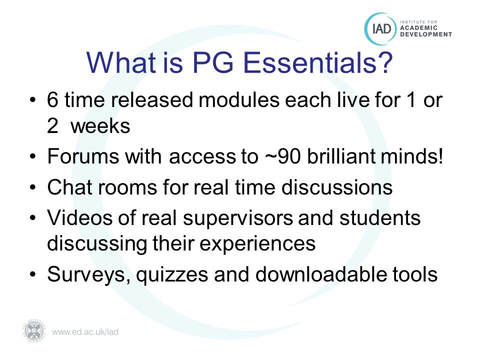 Postgraduate Essentials University of Edinburgh What is PG Essentials.