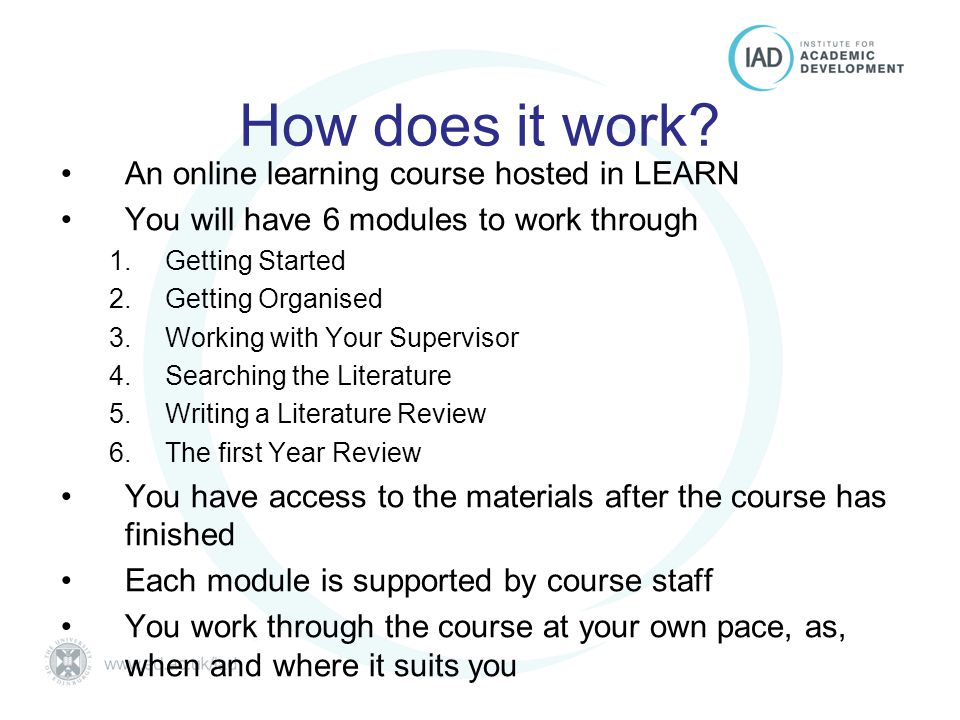 Postgraduate Essentials University of Edinburgh How does it work.
