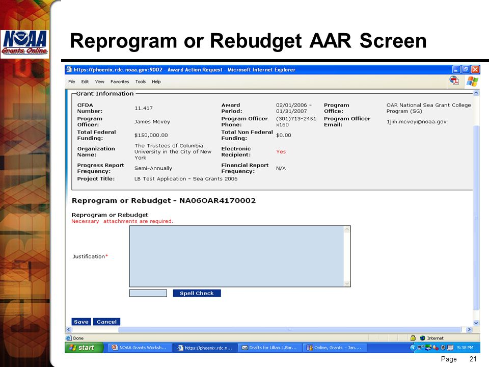 Page 21 Reprogram or Rebudget AAR Screen