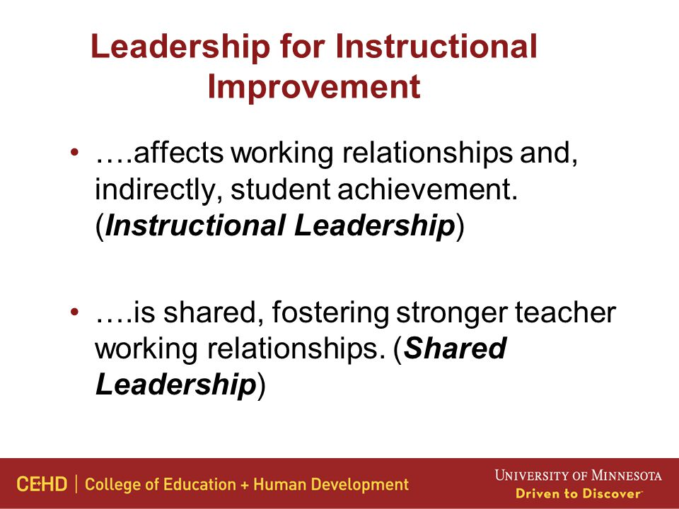 Leadership for Instructional Improvement ….affects working relationships and, indirectly, student achievement.