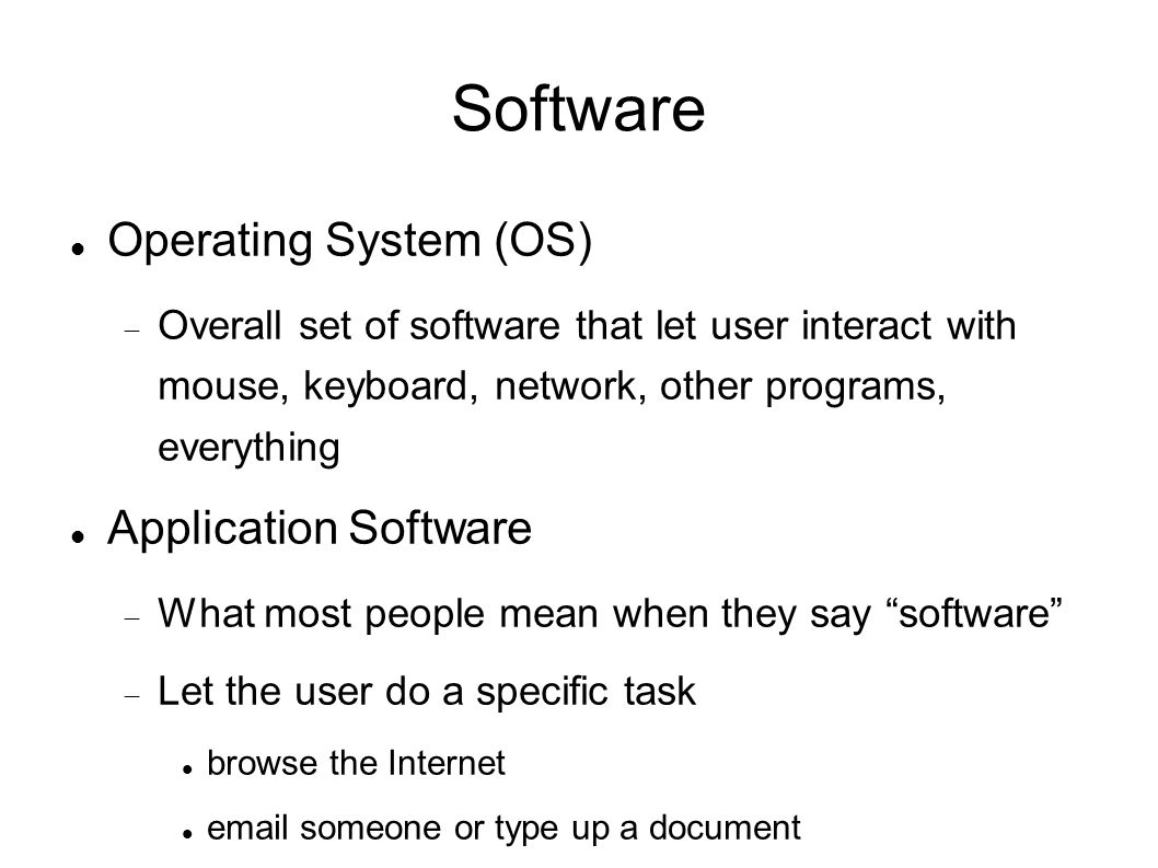 Software Operating System (OS)‏  Overall set of software that let user interact with mouse, keyboard, network, other programs, everything Application Software  What most people mean when they say software  Let the user do a specific task browse the Internet  someone or type up a document