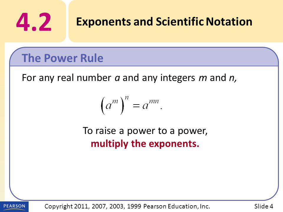 For any real number a and any integers m and n, To raise a power to a power, multiply the exponents.