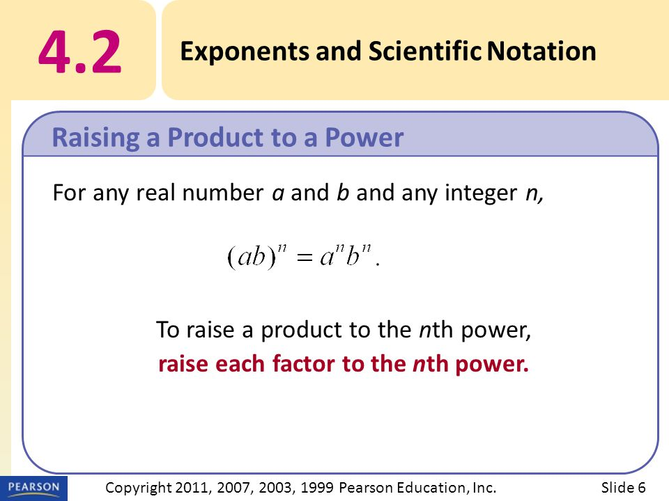 For any real number a and b and any integer n, To raise a product to the nth power, raise each factor to the nth power.