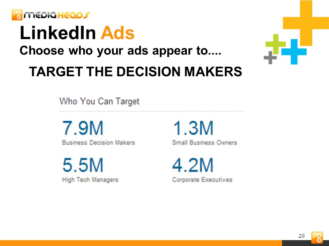 20 TARGET THE DECISION MAKERS LinkedIn Ads Choose who your ads appear to....