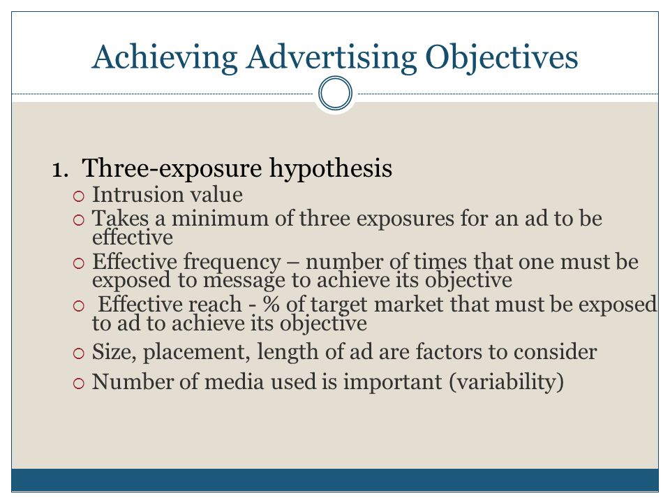 Achieving Advertising Objectives 1.