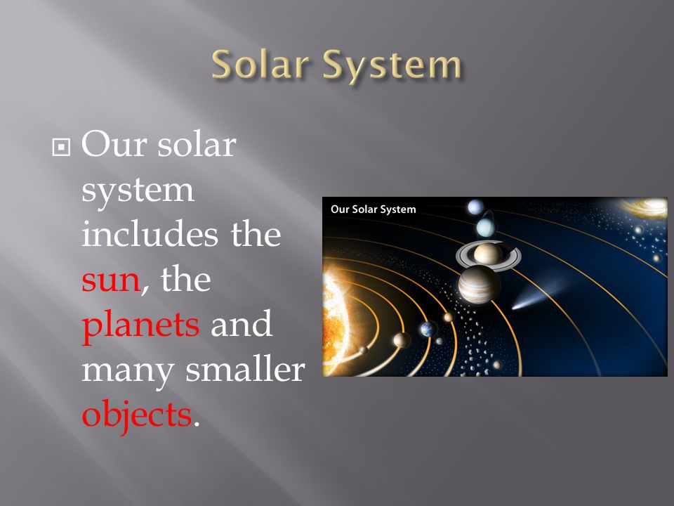  Our solar system includes the sun, the planets and many smaller objects.