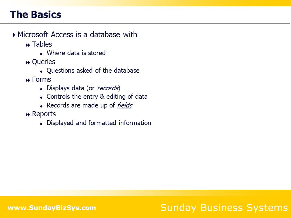 Sunday Business Systems Using Access More Efficiently Tips and