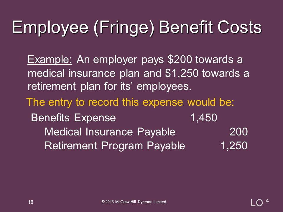 Example: An employer pays $200 towards a medical insurance plan and $1,250 towards a retirement plan for its' employees.